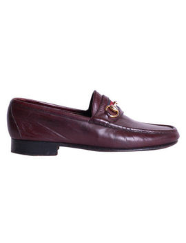 Gucci Loafers Size 7 (40 Eu) Burgundy Leather Web Stripe Bit by Gucci