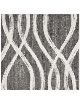 Safavieh Adr125 R 6 Sq Adirondack Collection Adr125 R Modern Square Area Rug, 6' Square, Charcoal/Ivory by Safavieh