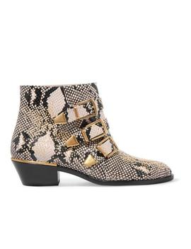 Susanna Studded Snake Effect Leather Ankle Boots/Booties by Chloé
