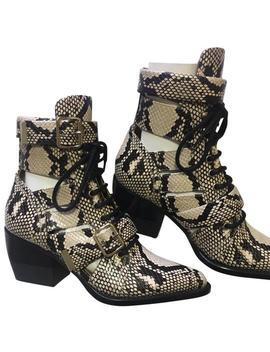 Gray Rylee Python Print Calfskin Medium Cut Out Boot/ Boots/Booties by Chloé