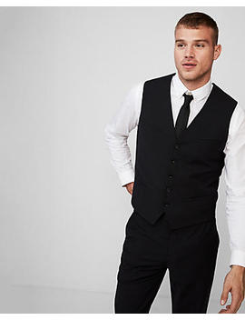 Black Performance Stretch Wool Blend Suit Vest by Express