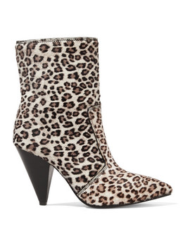 Atomic West Leopard Print Calf Hair Ankle Boots by Stuart Weitzman