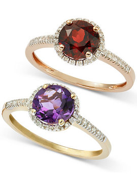 Semiprecious Ring Collection With Diamond Halo And Accents In 14k White, Yellow Or Rose Gold by Macy's