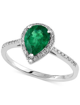 Brasilica By Effy Emerald (9/10 Ct. T.W.) And Diamond (1/6 Ct. T.W.) Pear Shaped Ring In 14k White Gold, Created For Macy's by Effy Collection