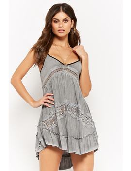 Strappy Oil Wash Crochet Ruffle Hem Cami by Forever 21