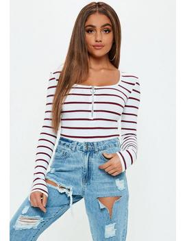 White Stripe Zip Front Bodysuit by Missguided