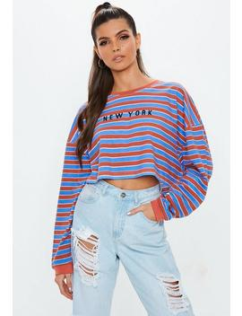 Blue New York Slogan Stripe Cropped T Shirt by Missguided