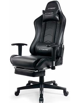 Gtracing Gaming Chair Heavy Duty Office Chair With Footrest E Sports Chair For Pro Gamer Ergonomic Seat Height Adjustable Multifunction Recliner With Headrest And Lumbar Support Pillow Gt901 Black by Gtracing