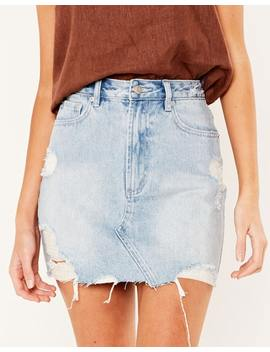 Distressed Denim Mini Skirt by Glassons