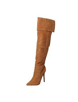 Ochenta Women's Faux Suede Folded Stiletto Heel Over Knee Boots by Ochenta