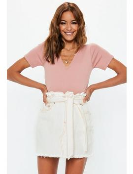 White Contrast Stitch Paperbag Denim Mini Skirt by Missguided