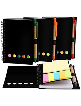 Toodoo 4 Packs 4.5 By 5.5 Inch Spiral Notebook Lined Notepad With Pen In Holder And Sticky Notes, Page Marker Colored Index Tabs Flags (Black Cover) by Toodoo