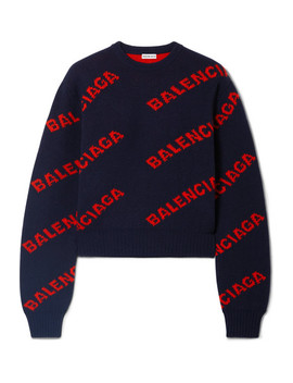 Cropped Intarsia Wool Blend Sweater by Balenciaga