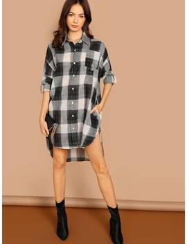 Roll Tab Sleeve High Low Plaid Shirt Dress by Shein