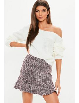 Red Tweed Frill Hem Mini Skirt by Missguided