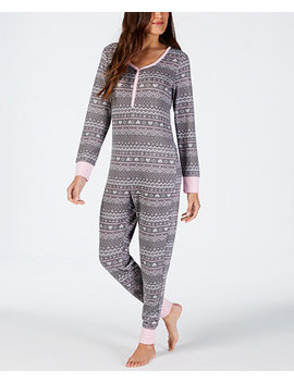 Printed Soft One Piece Pajama, Created For Macy's by Jenni