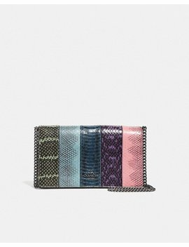 Callie Foldover Chain Clutch In Ombre Snakeskin by Coach