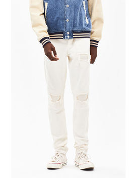 Pac Sun Stacked Skinny Stitch & Repair Khaki Jeans by Pacsun