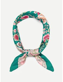 Contrast Trim Floral Bandana by Sheinside