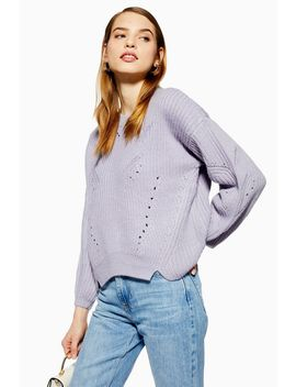 Pointelle Curved Hem Jumper by Topshop