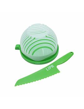 Lipr Large Kitchen Bpa Free Salad Cutter Bowl With Lettuce Knife Cuts Fruits And Vegetables In 60 Seconds by Lipr