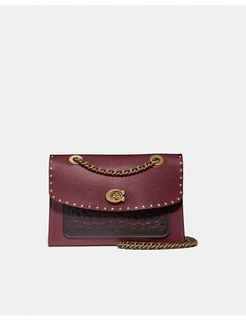Parker Shoulder Bag In Signature Leather With Rivets by Coach