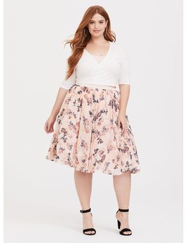 Blush Floral Chiffon Skater Midi Skirt by Torrid