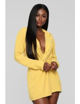 Knot So Basic Romper   Mustard by Fashion Nova