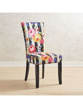 Remy Floral Stripe Dining Chair With Rubbed Black Wood by Adelaide Collection