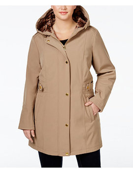 Plus Size Hooded Softshell Raincoat by Via Spiga