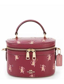 Coach Dark Berry Red Burgundy Mouse Trail Print Leather Handbag Bag New by Coach