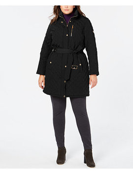 Plus Size Belted Quilted Hooded Coat by Michael Michael Kors