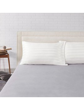 Bedsure Two Pack Satin Pillowcases Set For Hair Cool And Easy To Wash Standard Size/Queen Size 20x30 Striped Ivory With Envelope Closure by Bedsure
