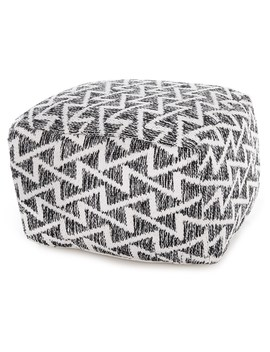 """Handcrafted In India Cotton Woven Pattern Pouf   32x32x14"""" by Handcrafted In India"""