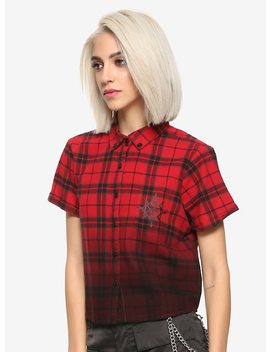 Disney Kingdom Hearts Iii Axel Plaid Girls Crop Woven Button Up Hot Topic Exclusive by Hot Topic