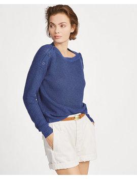 Button Shoulder Linen Sweater by Ralph Lauren