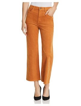 Joan High Rise Crop Wide Leg Corduroy Jeans In Titian by J Brand