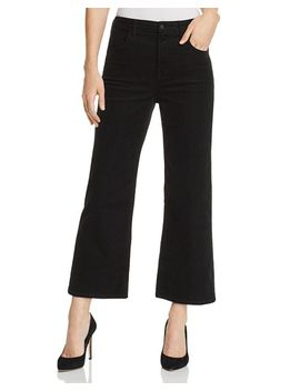 Joan Corduroy Cropped Wide Leg Jeans In Black by J Brand