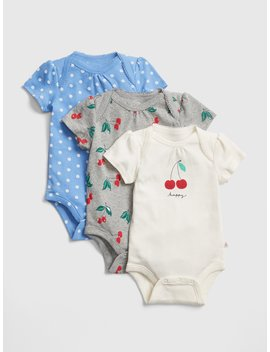 Cherry Short Sleeve Bodysuit (3 Pack) by Gap
