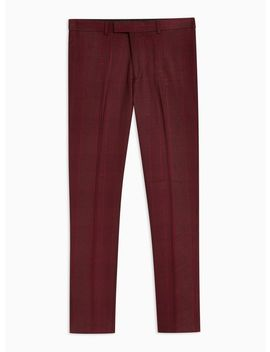 Red Check Skinny Pants by Topman
