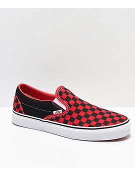 Vans Slip On Black &Amp; Formula Red Checkerboard Skate Shoes by Vans