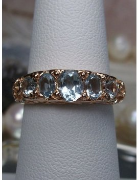Natural 5 Gem Sky Blue Topaz Georgian Sterling Silver & Rose Gold Filigree Ring Size: 5.5 {Design #19} by Etsy