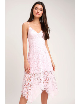 One Wish Light Blush Pink Lace Midi Dress by Lulus