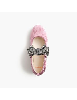 Girls' Velvet Shoes With Bows by J.Crew
