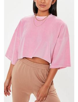 Tall Pink Velour Oversized Cropped T Shirt by Missguided