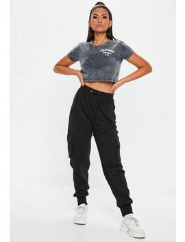 Tall Black Utility Pocket Cargo Joggers by Missguided