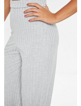 Tall Grey Ribbed Wide Leg Trousers by Missguided