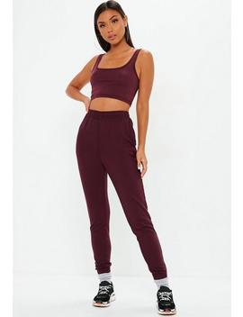 Tall Burgundy Slim Leg Joggers by Missguided