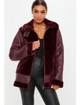 Tall Wine Faux Fur Ultimate Aviator Jacket by Missguided