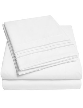 1500 Supreme Collection Extra Soft Full Sheets Set, White   Luxury Bed Sheets Set With Deep Pocket Wrinkle Free Hypoallergenic Bedding, Over 40 Colors, Full Size, White by Sweet Home Collection
